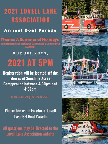 Image of 2021 Lovell Lake Boat Parade poster